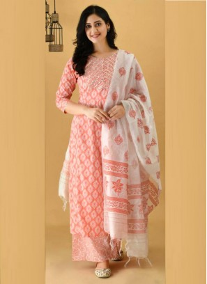 Captivate Anarkali Style Cotton Salwar Suit In Orange With Dupatta