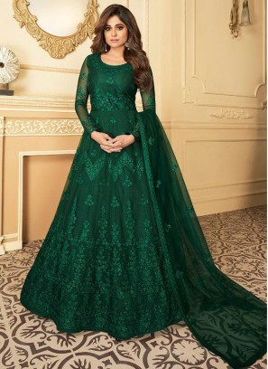 Captivating Butterfly Net Green Anarkali Suit With Dupatta