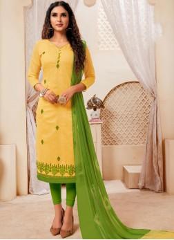 Captivating Cotton Yellow Print Churidar Suit