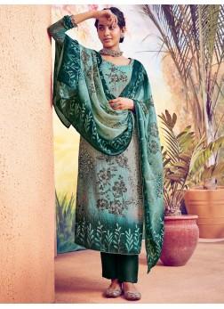 Captivating Digital Print On Muslin Salwar Suit In Green