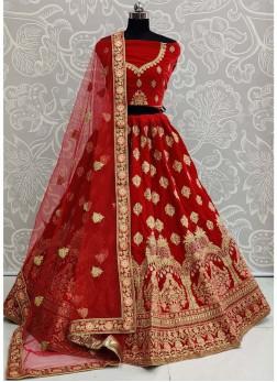 Captivating Embroidered Velvet On Lehenga Choli In Red