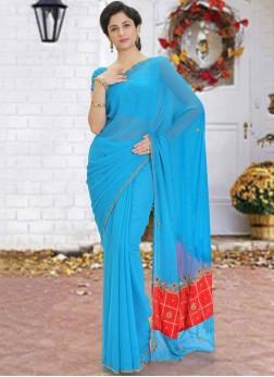 Captivating Georgette Cutdana Blue Designer Saree
