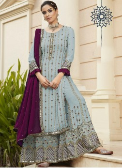 Captivating Mirror Work Sharara Style Salwar Suit In Sky Blue - Wine
