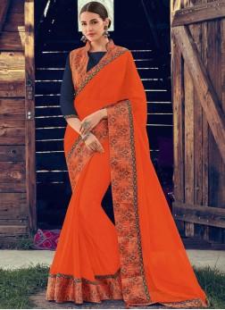 Captivating Orange Faux Chiffon Classic Saree