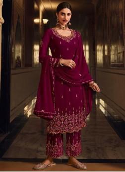 Captivating Tread Work Festival Look Salwar Suit In Maroon