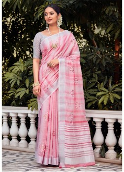 Casual Wear Ethnic Design Saree In Pink