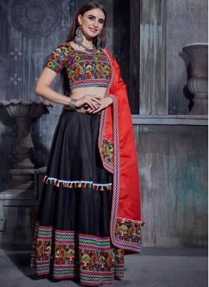 Catchy Cotton Black Mirror Designer Lehenga Choli