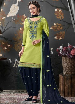 Catchy Cotton Silk Ceremonial Designer Patiala Salwar Kameez