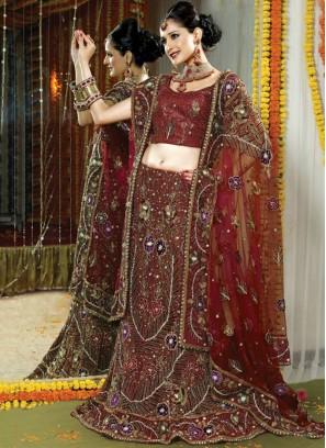 Full Handwork Fancy Net Bridal Lehenga Choli