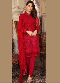 Catchy Faux Georgette Red Resham Designer Pakistani Suit