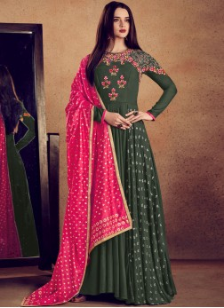 Catchy Rayon Green Lace Readymade Anarkali Suit