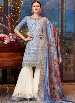 Chanderi Blue Designer Pakistani Suit