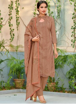 Chanderi Brown Embroidered Designer Pakistani Salwar Suit