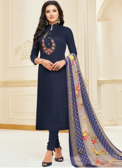 Chanderi Cotton Blue Embroidered Churidar Suit
