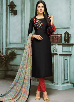 Chanderi Cotton Churidar Designer Suit in Black