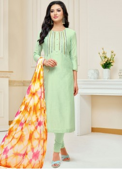 Chanderi Cotton Churidar Suit in Green
