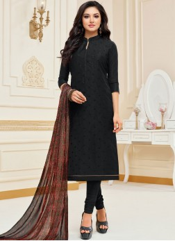 Chanderi Cotton Embroidered Churidar Suit in Black