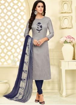 Chanderi Cotton Grey Churidar Suit