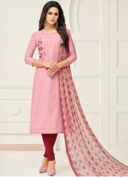 Chanderi Cotton Pink Embroidered Salwar Suit