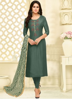 Chanderi Cotton Print Teal Churidar Suit