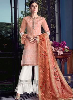 Chanderi Orange Embroidered Designer Pakistani Suit