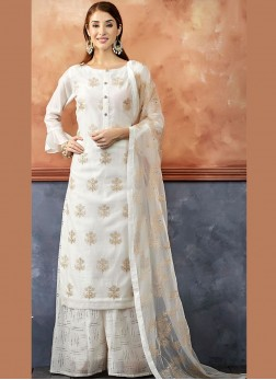 Chanderi White Embroidered Readymade Suit