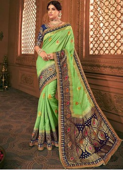 Charismatic Embroidered Banarasi Silk Green Designer Saree