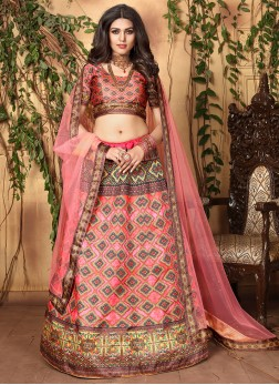 Charismatic Pink Digital Print Trendy Lehenga Choli