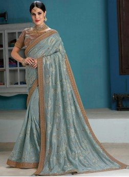 Charismatic Raw Silk Patch Border Grey Designer Traditional Saree