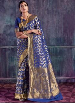 Charismatic Weaving Blue Traditional Designer Saree
