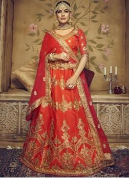 Charming Art Silk Orange Lace Lehenga Choli