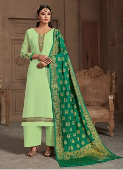 Charming Seagreen Designer Straight Suit