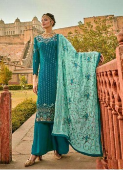 Charming Embroidery Work On Georgette Pakistani Wear Salwar Suit In Teal