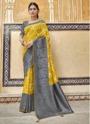 Charming Gold & Gray Designer Pure Dola Silk Saree