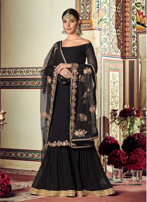 Charming Western Look On Sharara Style Suit In Black