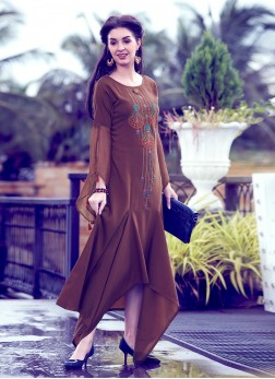 Cherubic Embroidered Brown Party Wear Kurti