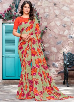Cherubic Printed Georgette Multi Colour Trendy Saree