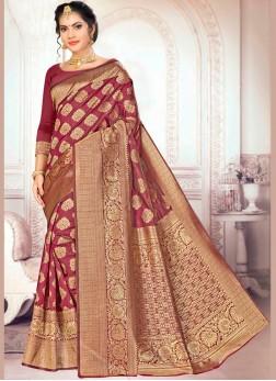 Cherubic Weaving Maroon Art Silk Traditional Designer Saree