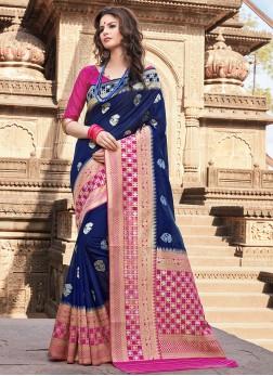Chic Art Silk Blue Traditional Saree