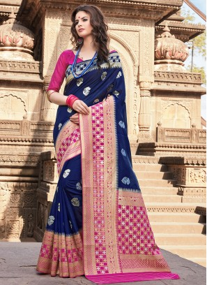 Chic Art Silk Blue Traditional Saree