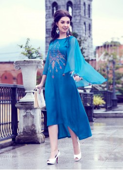 Chic Embroidered Fancy Fabric Blue Party Wear Kurti