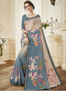 Chic Grey Traditional Designer Saree
