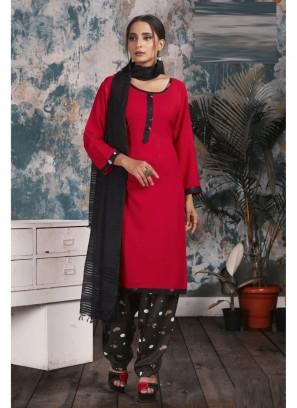 Chiffon Dupatta Casual Patiala Suit In Red - Black