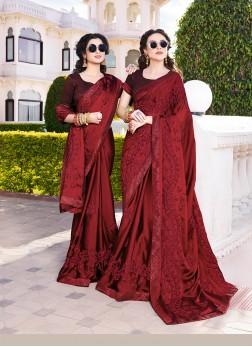 Chiffon Satin Maroon Designer Saree