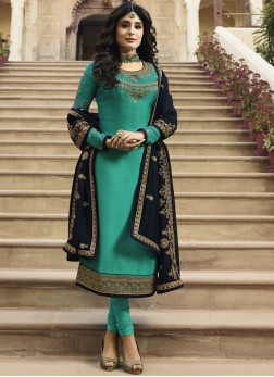Churidar Salwar Kameez Embroidered Georgette Satin in Sea Green