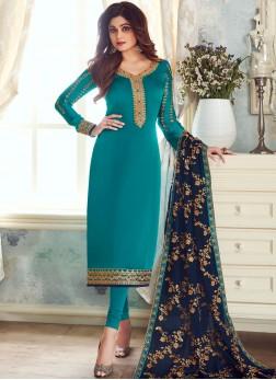 Churidar Salwar Suit Embroidered Georgette Satin in Teal
