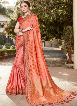 Classic Designer Saree Resham Art Silk in Peach