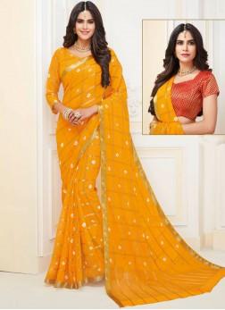 Classic Designer Saree Weaving Faux Chiffon in Yellow