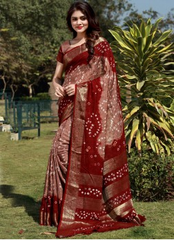 Classic Saree Bandhej Fancy Fabric in Brown