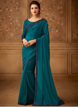 Classic Saree Embroidered Art Silk in Teal